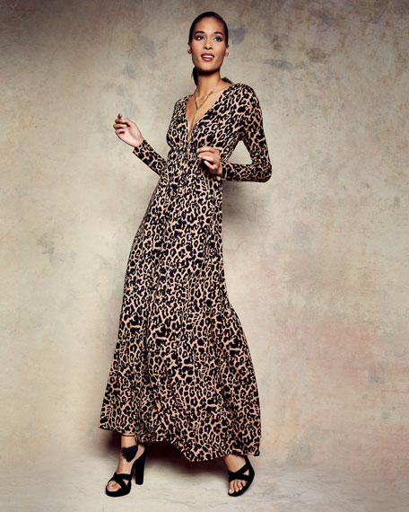 Leopard-Print Long Caftan Maxi Dress, Plus Size