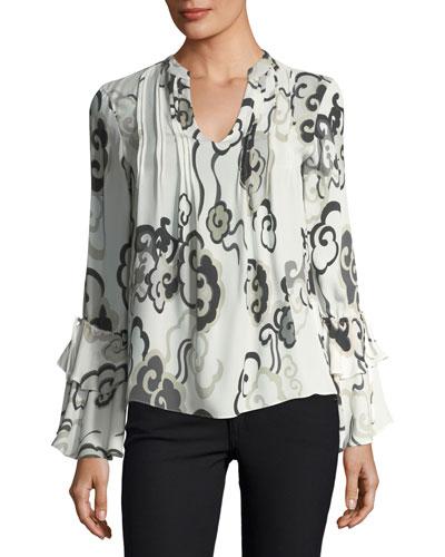 Long-Sleeve Ruffle-Cuff Wandering Clouds-Print Silk Blouse
