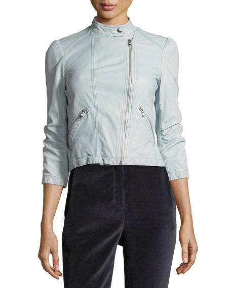 Zip-Front Washed Leather Moto Jacket