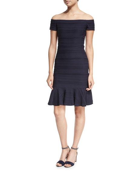 Off-the-Shoulder Textured Mini Dress