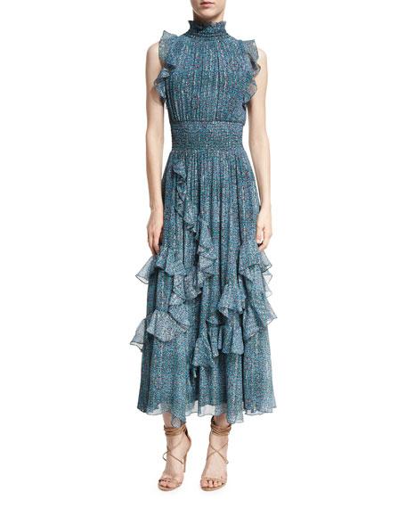Rebecca Taylor Minnie Sleeveless Ruffled Floral-Print Maxi Dress