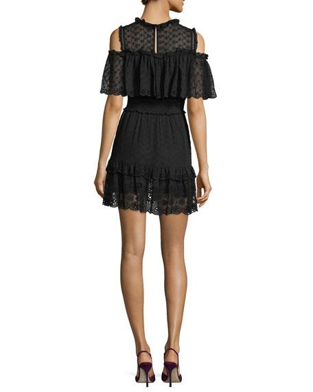 Cold-Shoulder Ruffled Eyelet Silk Mini Dress