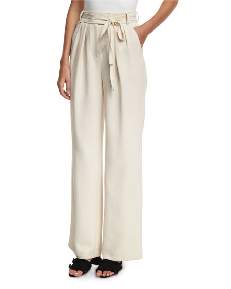 Rebecca Taylor High-Waist Wide-Leg Belted Crepe Pants
