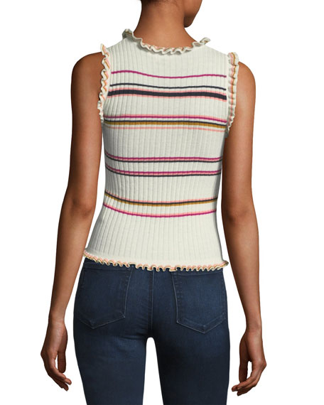 Sleeveless Ruffled Striped Rib-Knit Tank