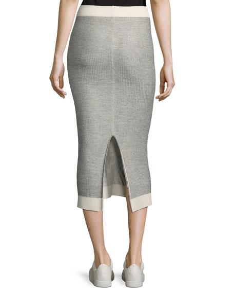 Rib-Knit Tube Sweater Midi Skirt