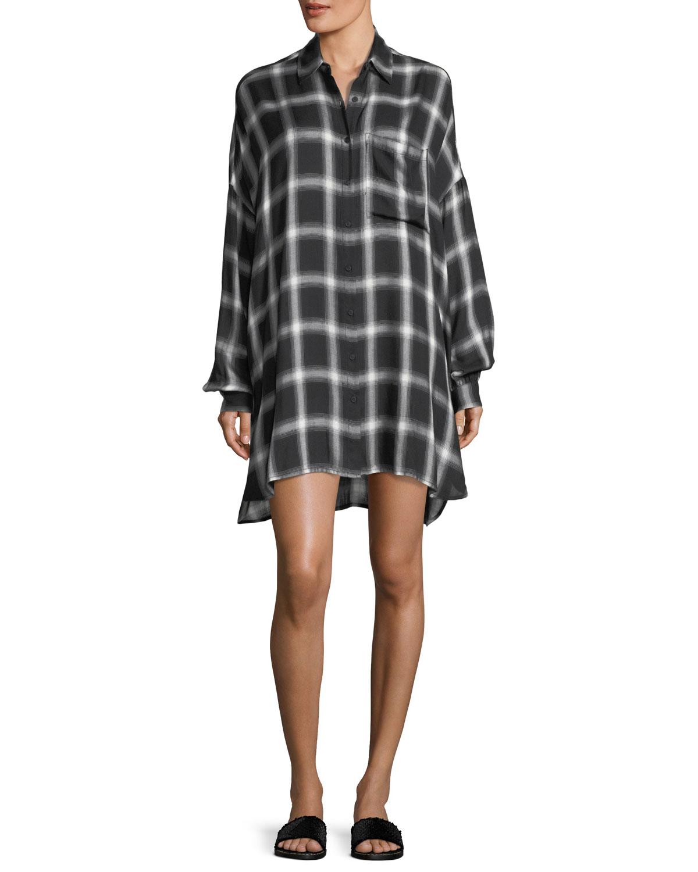 4d6dfaa3262 Kendall + Kylie Oversized Plaid Button-Front Shirtdress