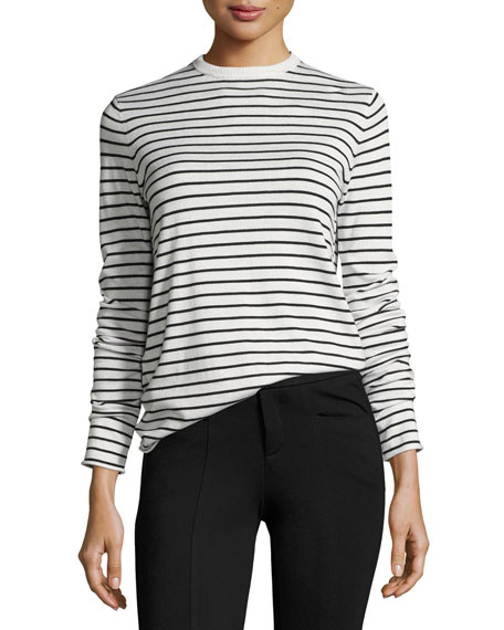 ATM Anthony Thomas Melillo Striped Crewneck Long-Sleeve Top
