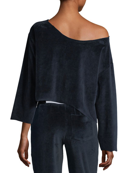 Off-the-Shoulder Velvet Pullover Sweater