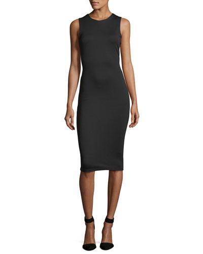 Lace-Back Sleeveless Midi Dress