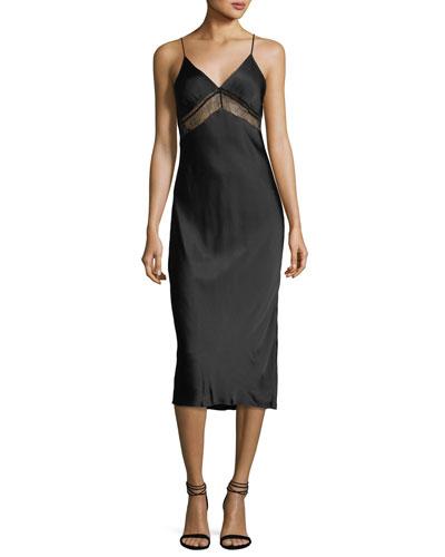 Lace V-Neck Satin Slip Dress