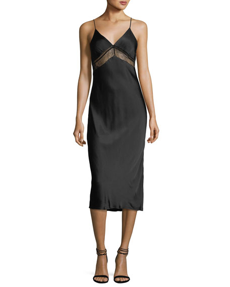 Kendall + Kylie Lace V-Neck Satin Slip Dress