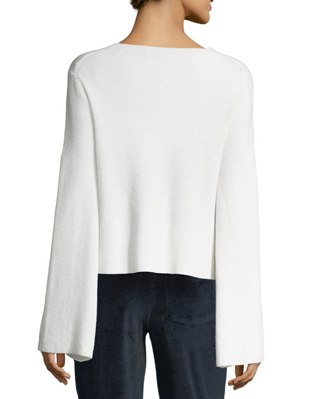 V-Neck Bell-Sleeve Wool-Knit Sweater