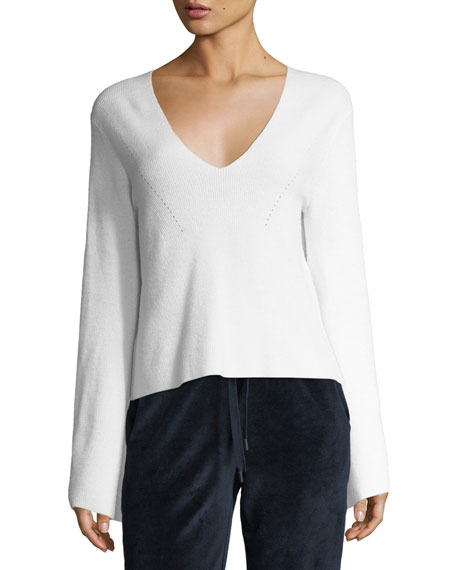 Kendall + Kylie V-Neck Bell-Sleeve Wool-Knit Sweater