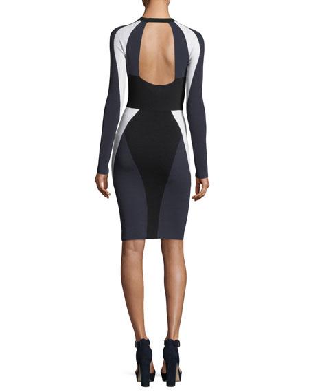 Long-Sleeve Bodycon Colorblock Cutout Dress