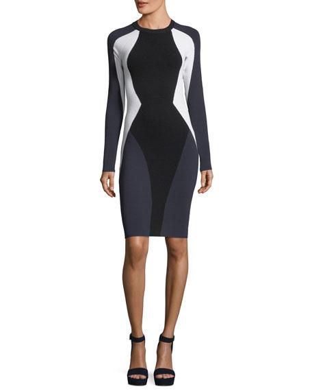 Kendall + Kylie Long-Sleeve Bodycon Colorblock Cutout Dress