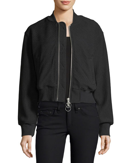 Kendall + Kylie Textured Bomber Track Jacket