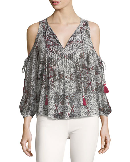 Cappy V-Neck Cold-Shoulder Printed Top