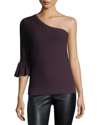 Wappo Cashmere-Cotton One-Shoulder Top