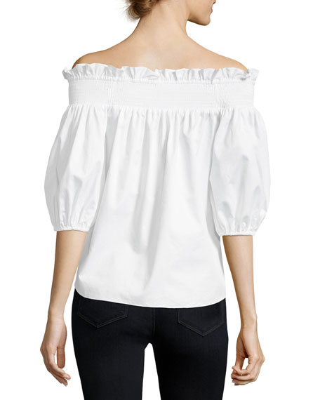 Spade Off-the-Shoulder Button-Front Poplin Shirt