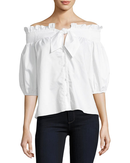 Spade Off-the-Shoulder Button-Front Poplin Shirt