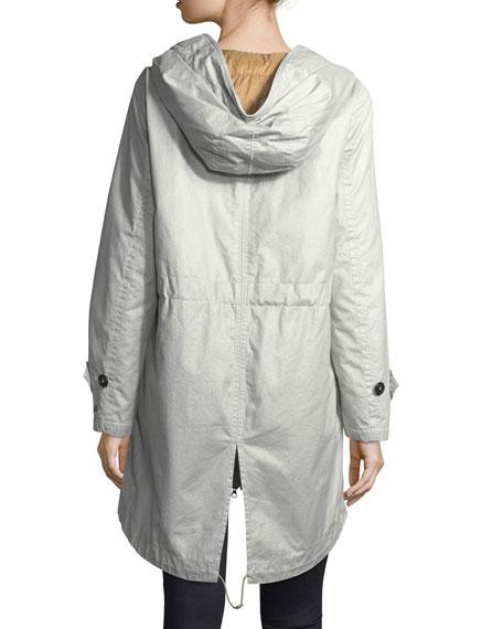 Statics Distressed Long-Sleeve Anorak Jacket w/ Fur Trim