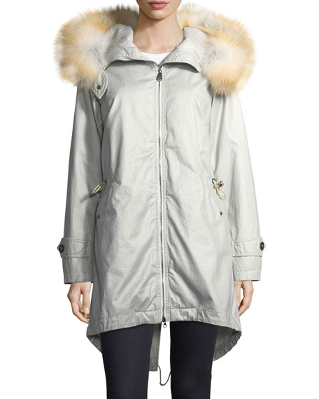 Peuterey Statics Distressed Long-Sleeve Anorak Jacket w/ Fur
