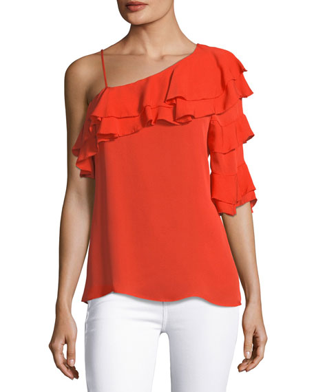 Parker Clayton Asymmetric Ruffled Silk Blouse