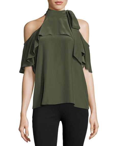 High-Neck Cold-Shoulder Silk Top