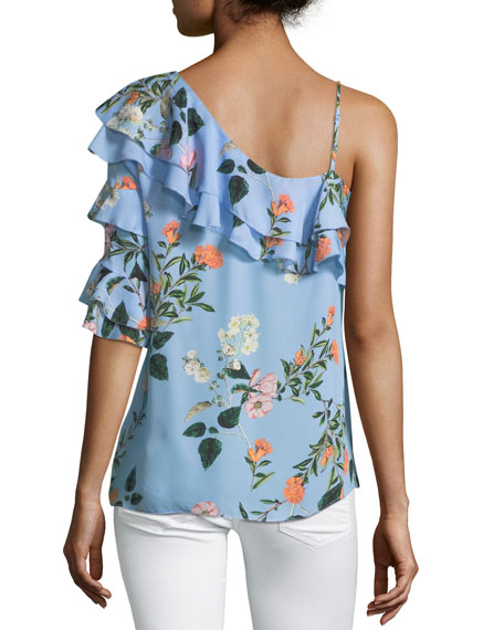 Clayton One-Shoulder Floral-Print Blouse
