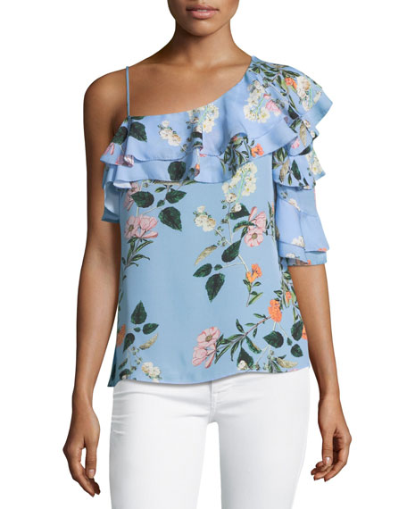 Parker Clayton One-Shoulder Floral-Print Blouse