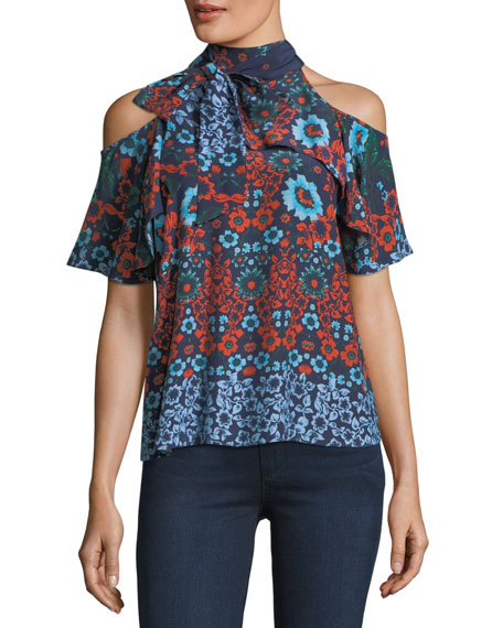 Floral-Print Necktie Cold-Shoulder Silk Top