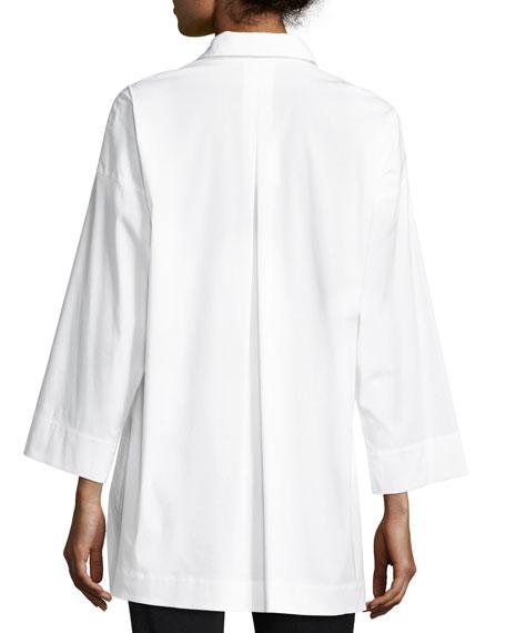 Hensley Stretch-Cotton Blouse, White, Plus Size