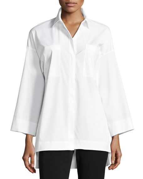 Lafayette 148 New York Hensley Stretch-Cotton Blouse, White,