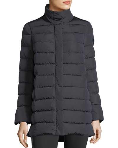 Drisser A-Line Zip-Front Down Wool Combo Coat