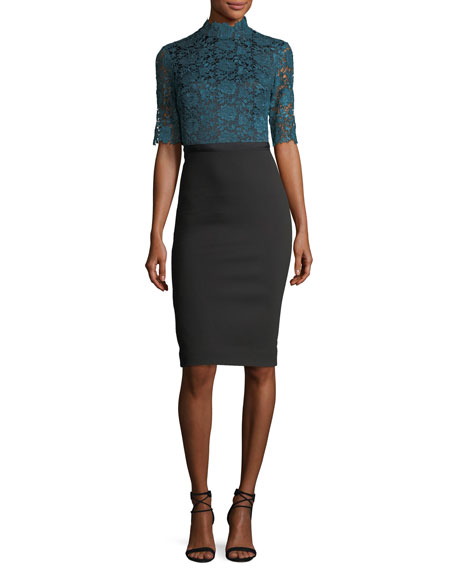 Catherine Deane Half-Sleeve Lace & Crepe Cocktail Dress