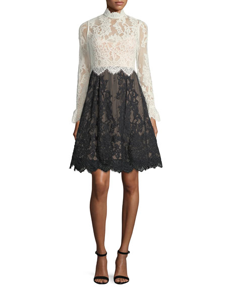 Catherine Deane High-Neck Scalloped Lace Fit-and-Flare Cocktail