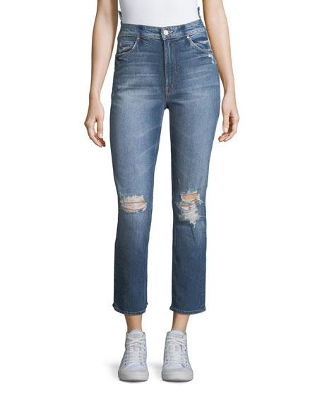 Mother Denim Dazzler Destroyed High-Waist Skinny-Leg Jeans