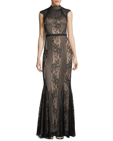 Catherine Deane Cap-Sleeve Mock-Neck Lace Gown