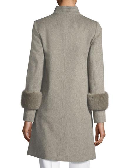 Single-Breasted Wool Coat w/ Mink Cuffs