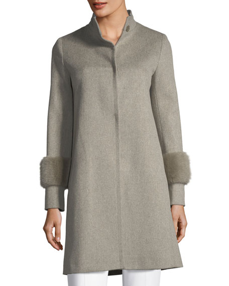 Fleurette Single-Breasted Wool Coat w/ Mink Cuffs