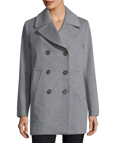 Double-Breasted Wool Boyfriend Pea Coat