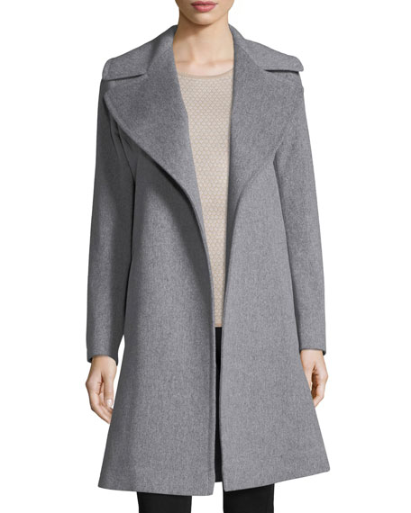 Notched-Collar Wool Wrap Coat