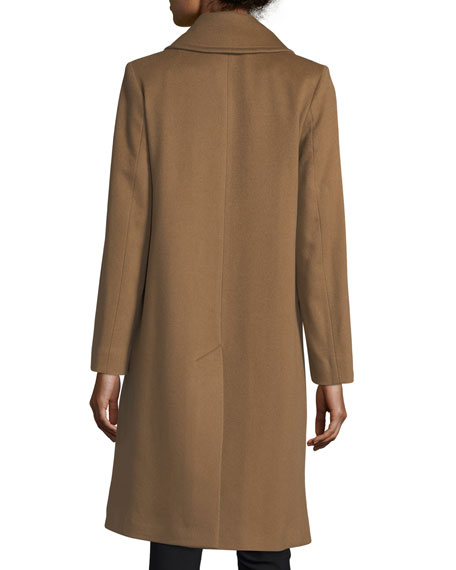 Notched-Collar Double-Breasted Wool Coat