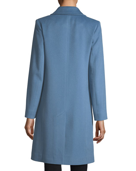 Modern Notched-Collar Two-Button Wool Reefer Coat