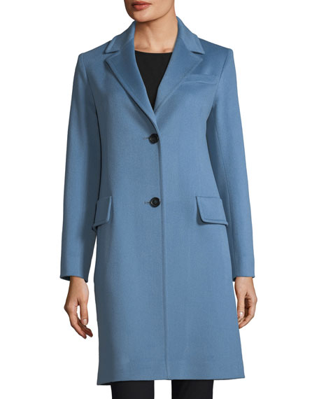 Fleurette Modern Notched-Collar Two-Button Wool Reefer Coat