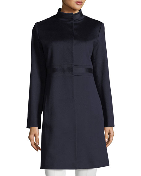 FLEURETTE Stand-Collar Banded-Waist Wool Coat in Midnight