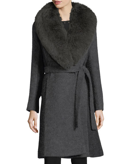 Fleurette Wrap-Front Shawl-Collar Textured Knit Wrap Coat