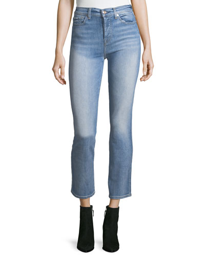 Edie High-Rise Ankle Straight-Leg Jeans, Vintage Azure