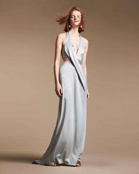 Sleeveless Deep V Halter Draped Satin Gown
