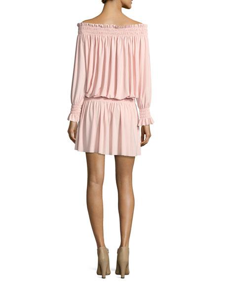 Off-the-Shoulder Smocked-Neck Peasant Dress